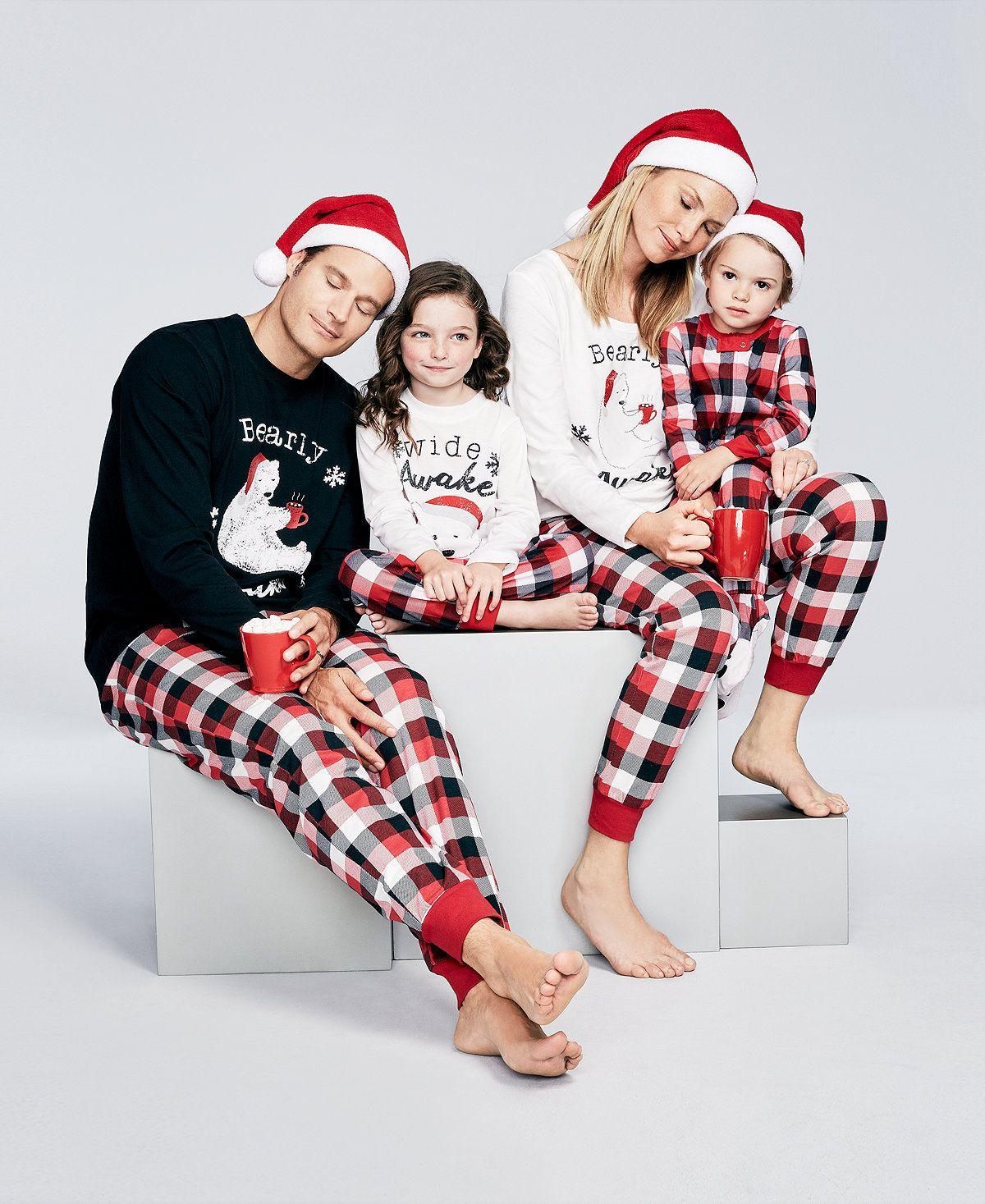 Mère Et la Fille Père Fils Famille Correspondant Vêtements Ensembles Ours Plaid Pyjamas Papa Maman Maman Maman Bébé De Noël Famille Look