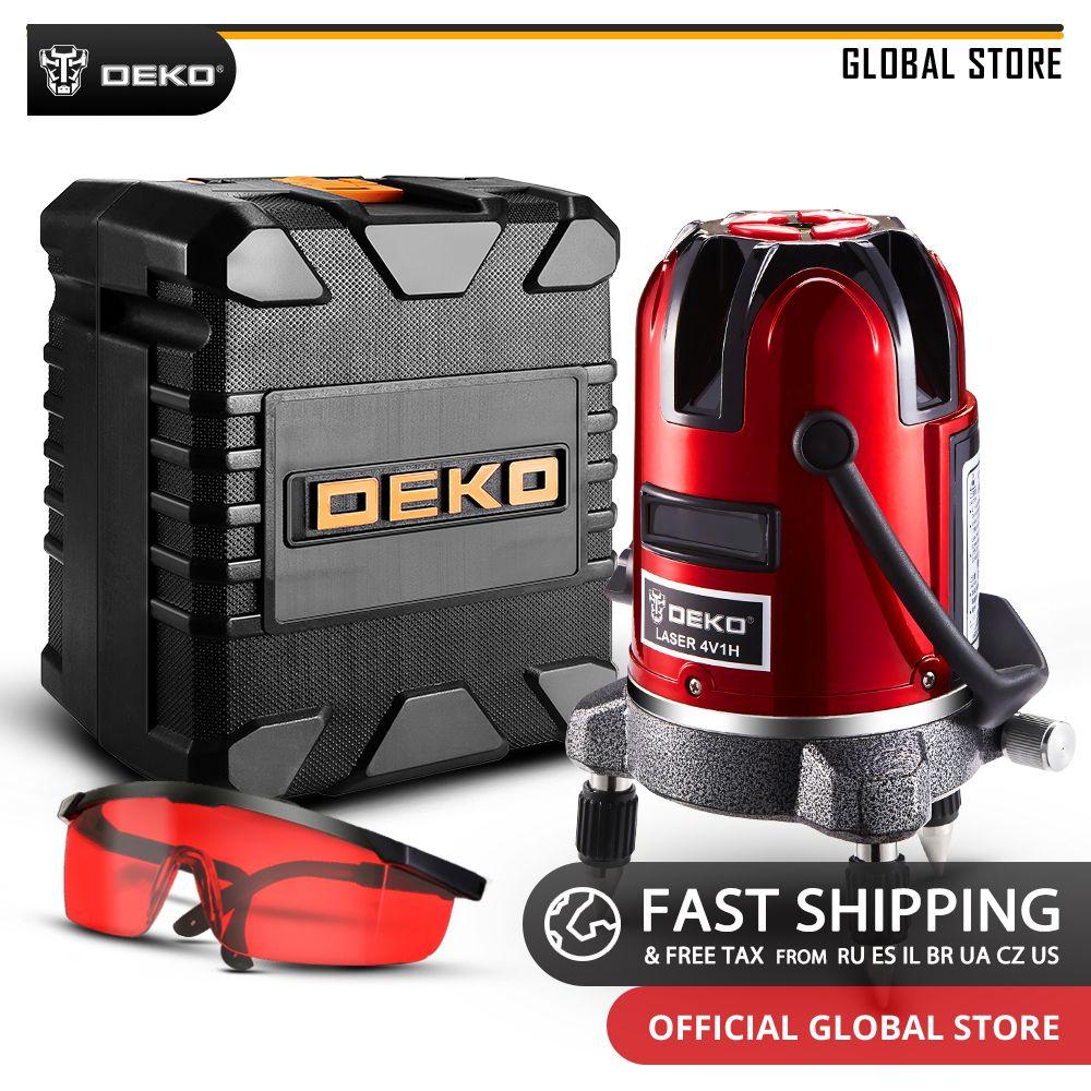 DEKO LL5 Série 360 Degrés Rotatif 5 Lignes 6 Points Auto-nivellement Horizontal Vertical Croix niveau laser de ligne Une Plus Grande Visibilité
