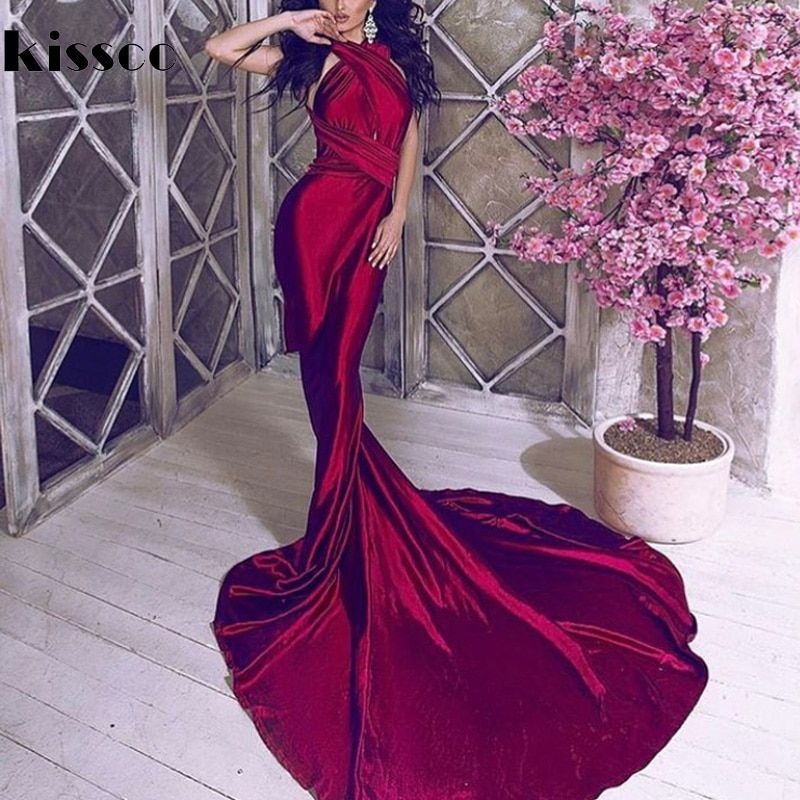 Sexy Backless Shiny Satin Deep V Neck Bodycon Mermaid <font><b>Wedding</b></font> Party Dress Halter Wine Red Green Floor Length Evening Maxi Dress