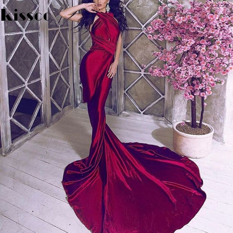 Sexy Backless Shiny Satin Deep V Neck Bodycon Mermaid Wedding Party Dress Halter Wine Red Green Floor Length Evening Maxi Dress