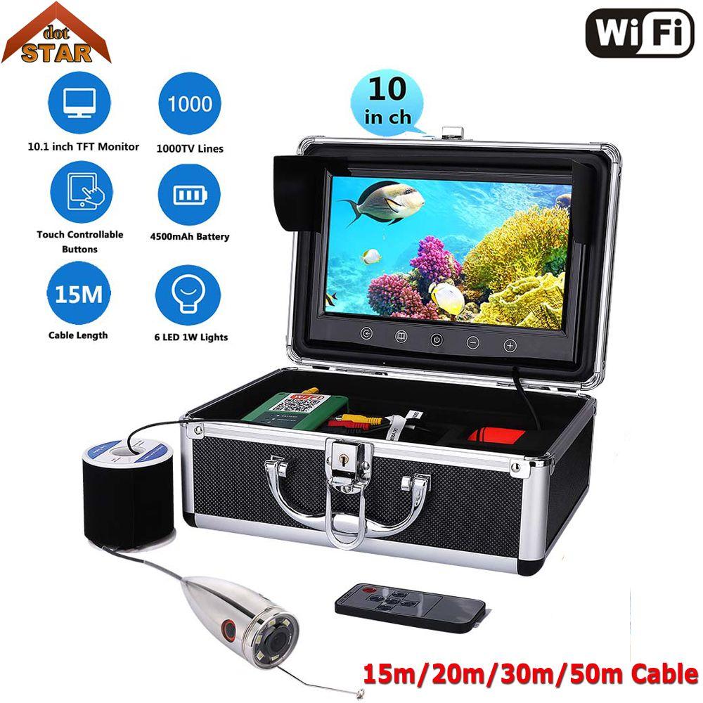 Fish Finder Underwater Fishing Camera Wifi 10'' 1000TVL HD Stardot Waterproof Video Underwater Camera Kit With Video Recording
