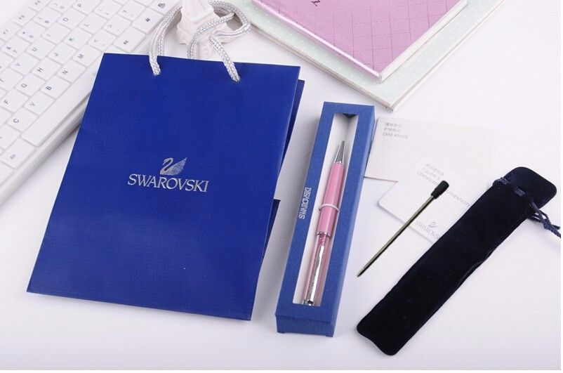 2017 swarovski Pen with brand retail box case gift handbag velvetpouch refill swarovski elements crystal pen Free Shipping