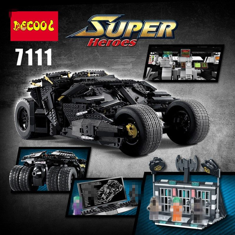 IN STOCK Upgrade DECOOL 7111 2113PCS Oversized Bat Car Batman The Combat Vehicle Bricks Giant Building Block Toys 78023
