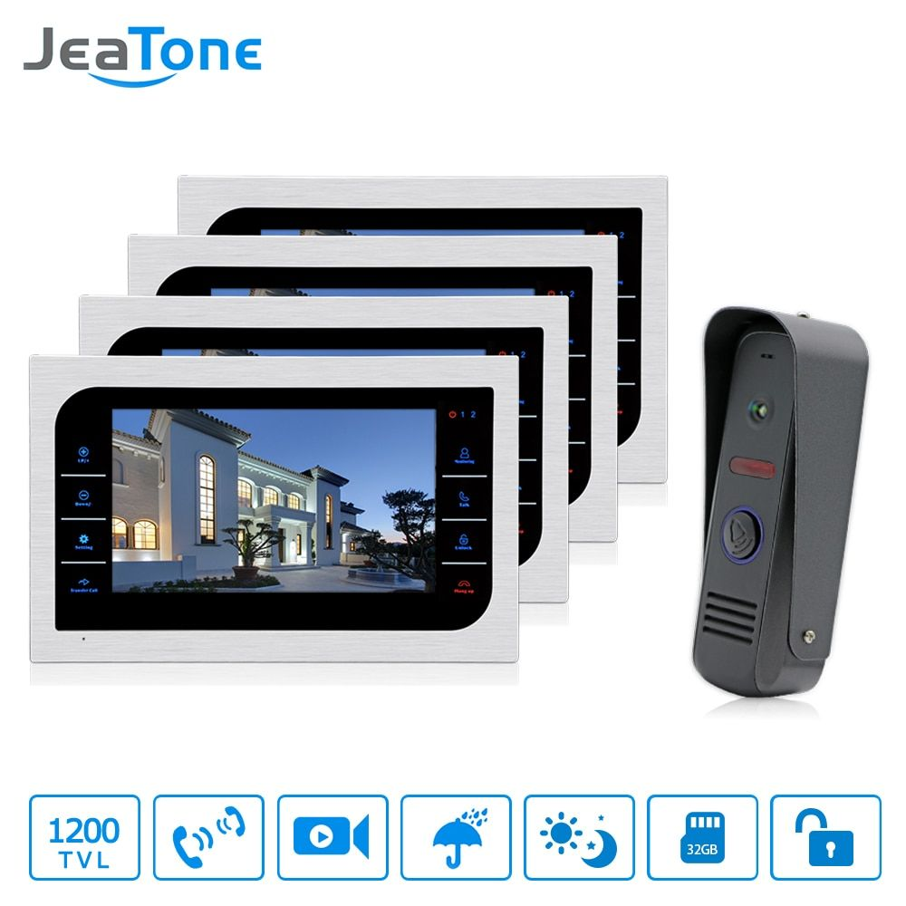 JeaTone Home Surveillance Intercom System 4pcs 10