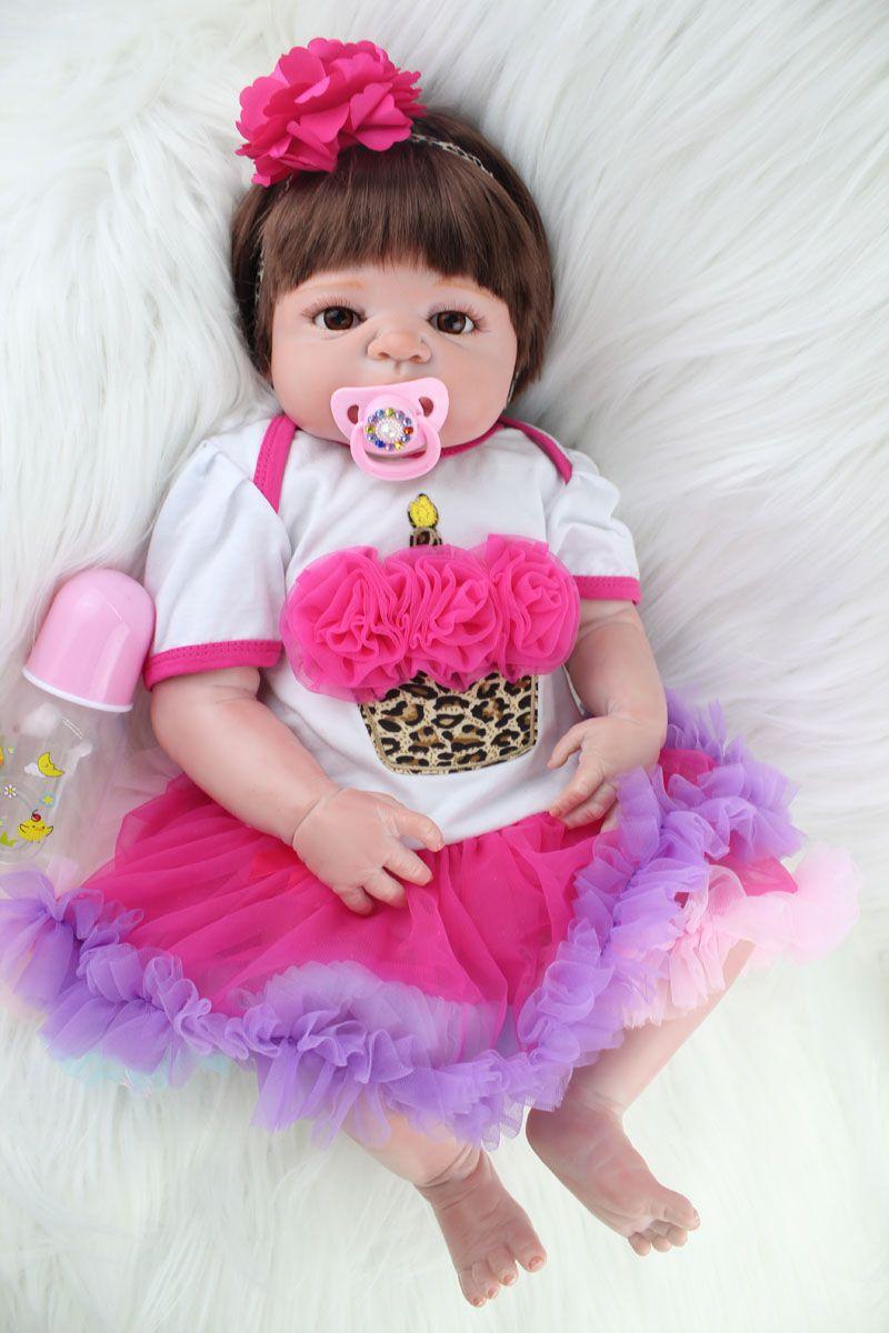 55cm Full Silicone Reborn Baby Girl Doll Toys Lifelike Princess Newborn Toddler Babies Dolls Lovely Birthday Gift Bathe Toy