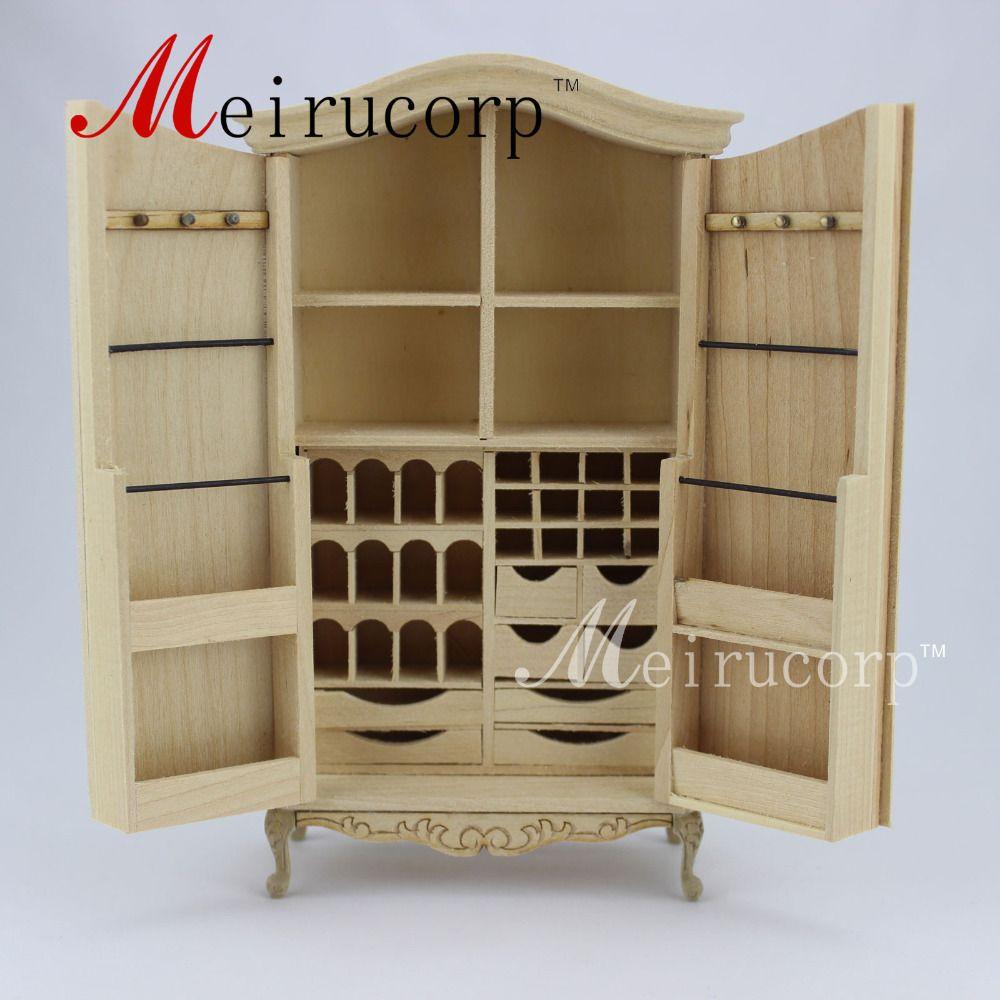 Неокрашенный кукольный домик 1:12 Масштаб Миниатюрный Мебель коллекционные шкаф
