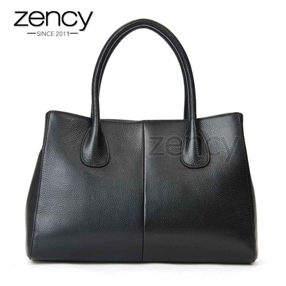 Zency 100% Soft Genuine Leather Fashion Women Handbag High Quality Female Casual Tote Bag Office Ladies Business Purse Beige