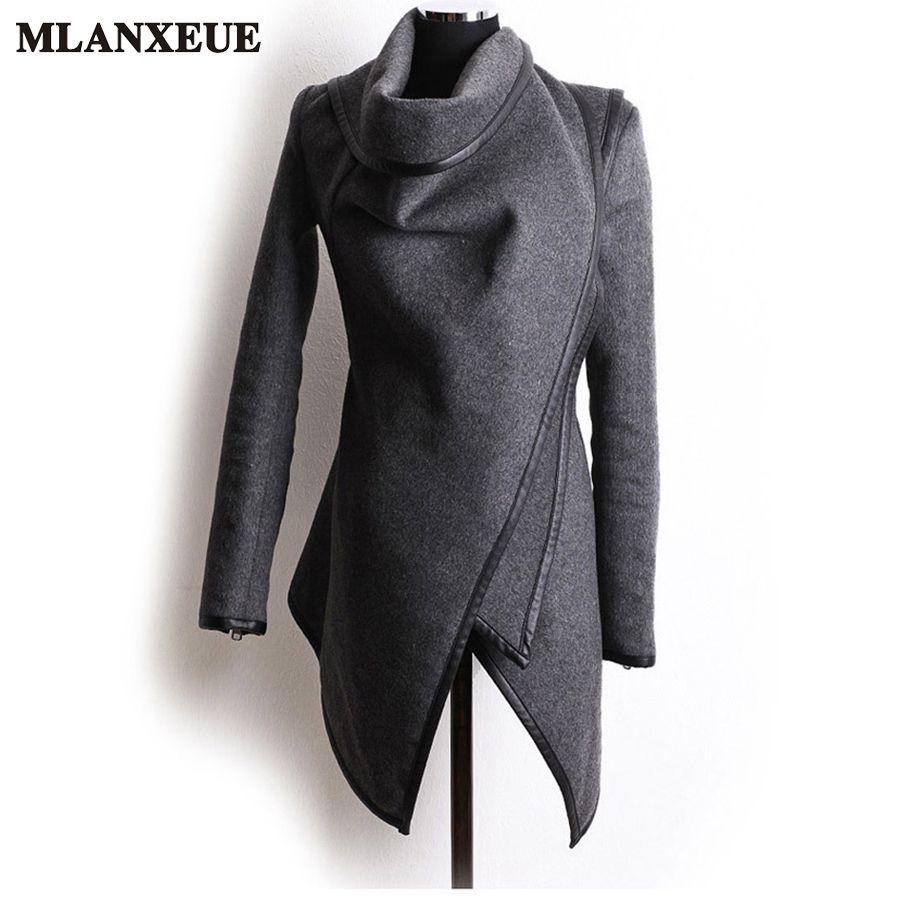 Mode De Laine DE Manteau Taille Haute Femme Irrégulière Slim Femme Manteaux 2017 Hiver Dames Simple Vestes Plus La Taille Femme Vêtements