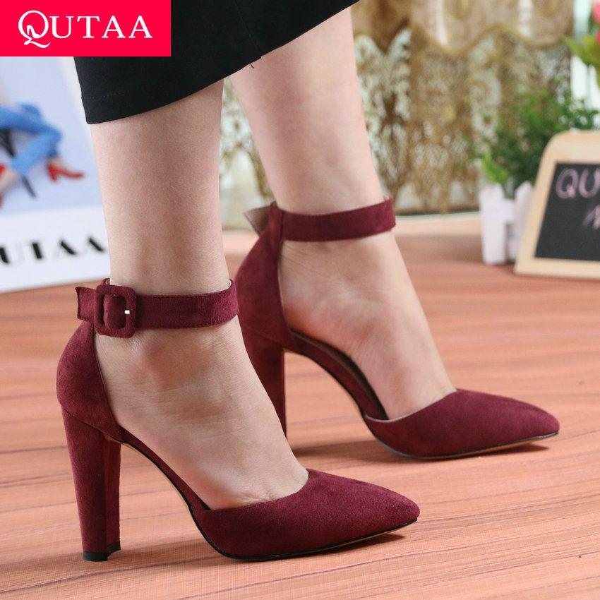 QUTAA 2019 femmes pompes mode femmes chaussures fête mariage Super carré haut talon bout pointu rouge vin dames pompes taille 34-43