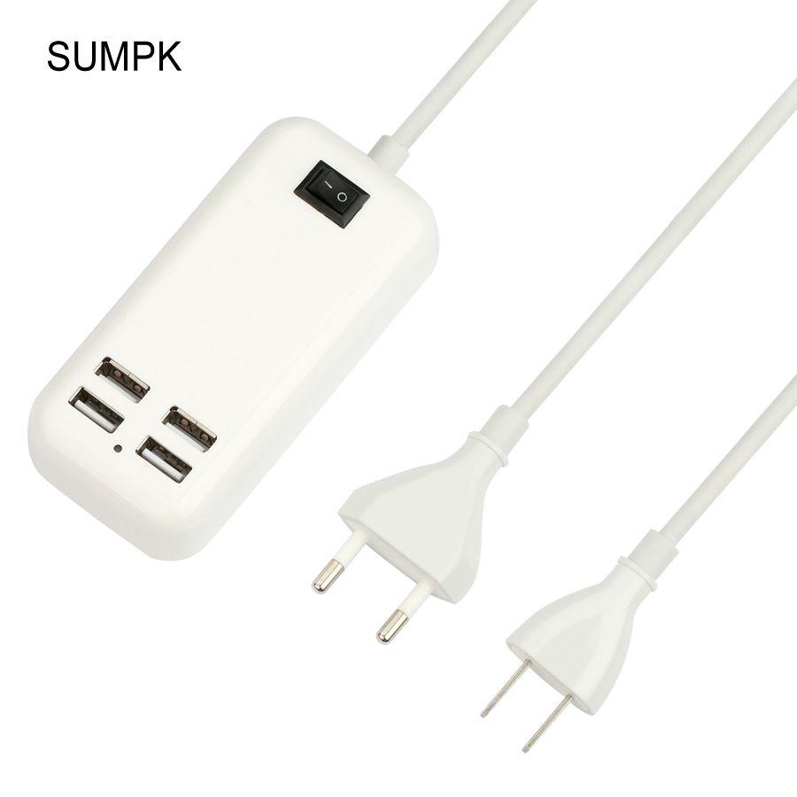 SUMPK 5V3A 4 Ports USB Voyage Chargeur UE/US Plug USB mur chargeur rapide de charge pour samsung SUR/Off Mobile Téléphone chargeur