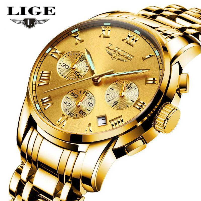 Lige Для мужчин S Часы лучший бренд класса люкс Бизнес золотые часы кварцевые Для мужчин полный Сталь модные Водонепроницаемый спортивные час...