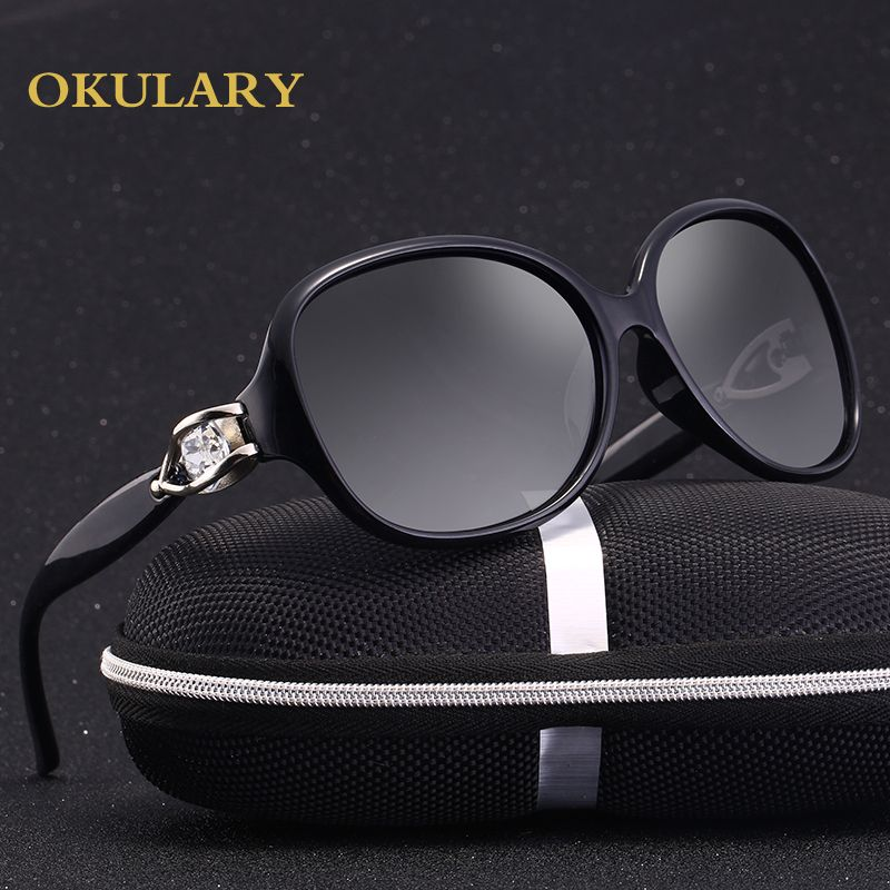2018 Women Oval Polarized Sunglases Black/Tea Color Diamond Decoration UV400 Free Shipping