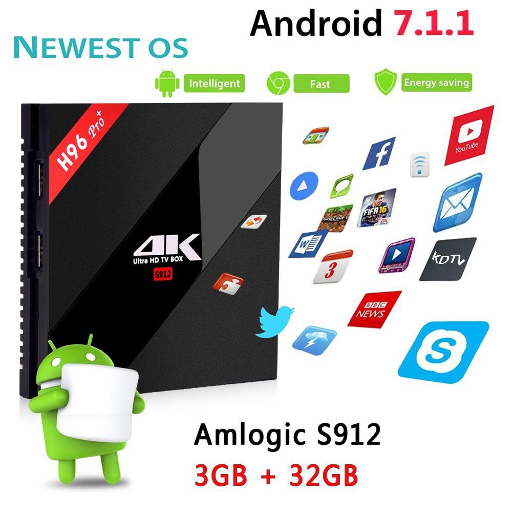 H96 PRO + Plus Smart TV Box Amlogic S912 Octa Mali-T820MP3 GPU 2G/16G 3G/32G Android 7.1 2.4G/5.8GHz Wifi Bluetooth Set Top Box