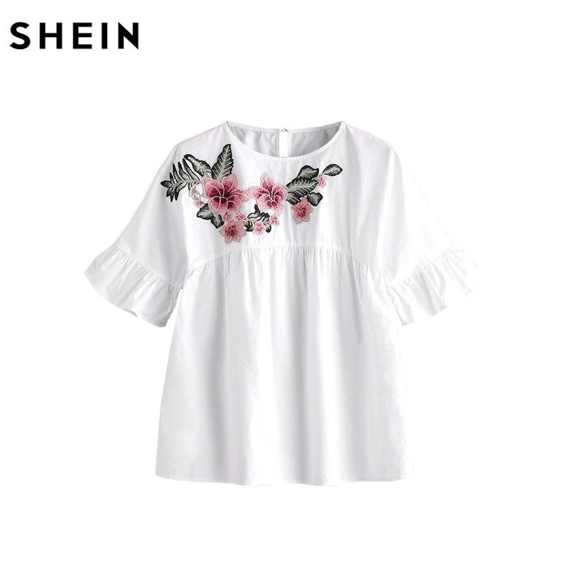 Шеин Вышивка короткий рукав лето Для женщин Блузки для малышек белый вышитый цветок украшен рюшами рукавами сорочка Топ