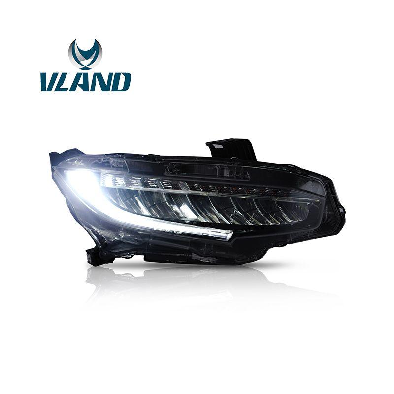 VLAND Fabrik Für Kopf Lampe Für Civic LED Scheinwerfer 2016 2017 2018 LED Kopf Licht Mit Moving Signal + Stecker und Spielen + Wasserdicht