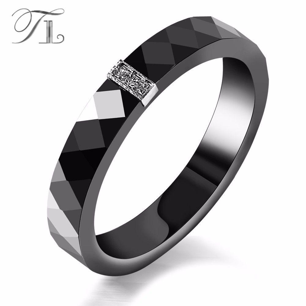TL Women Ceramic Rings Black Wedding Rings Graduated Gifts Christmas Gift Anniversary Present Simple Black Fashion Ceramic Ring