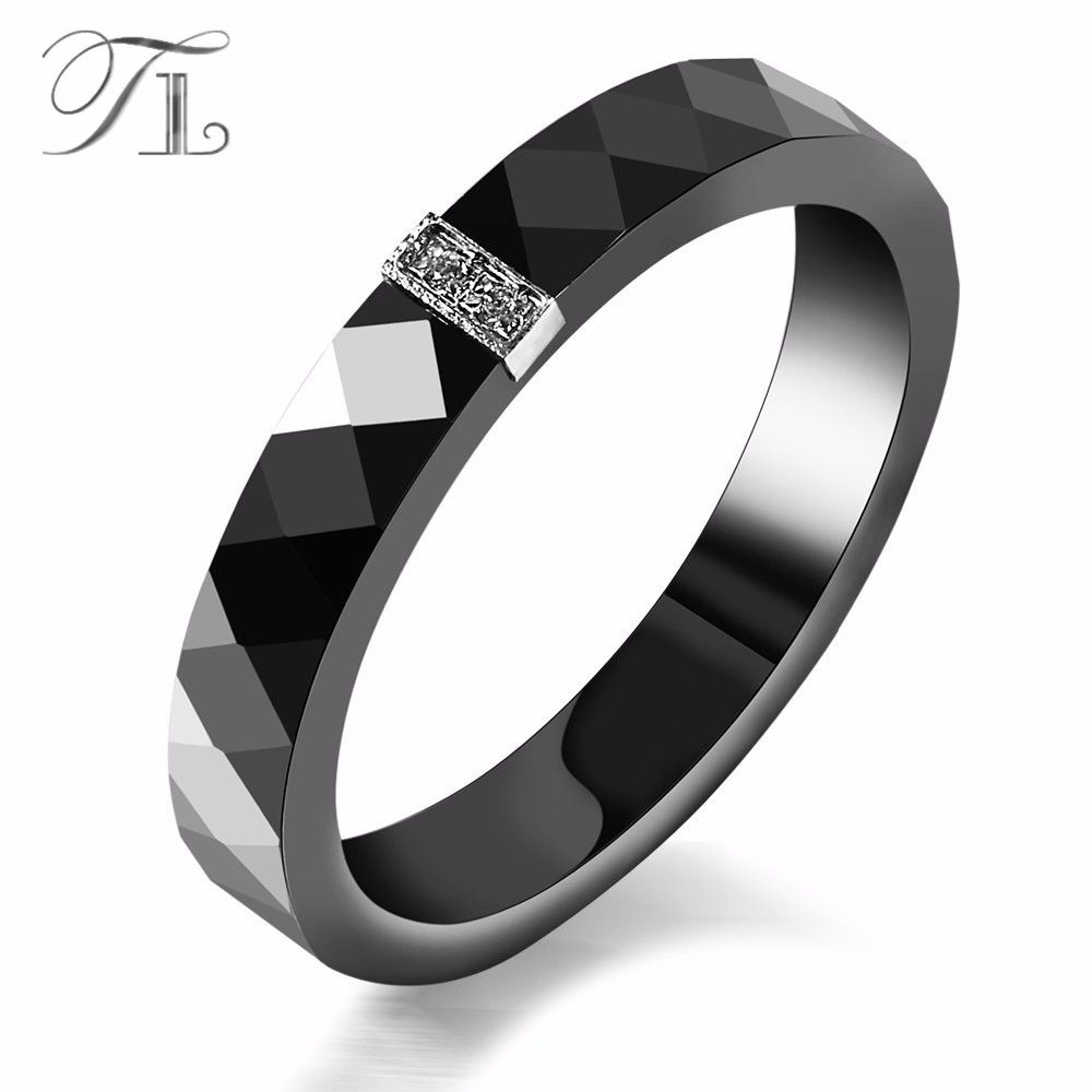 TL Women Ceramic Rings Black Wedding Rings Graduated Gifts Christmas Gift Anniversary Present Simple Black Fashion Ceramic Ring