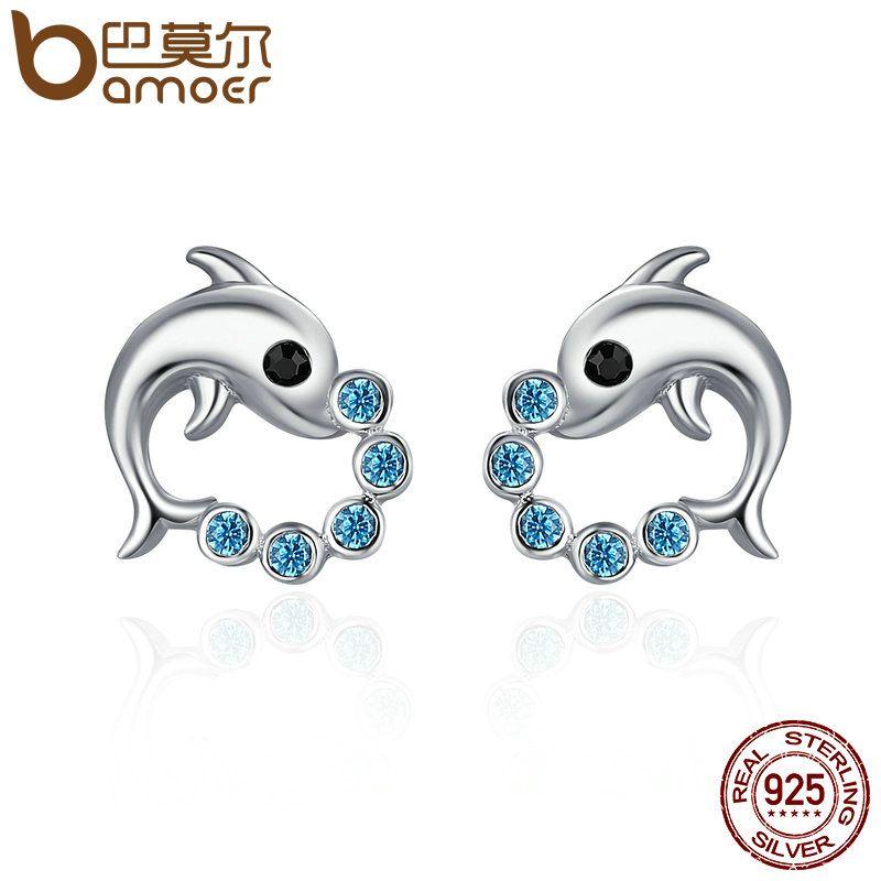 BAMOER Genuine 925 Sterling Silver Cute Dolphin Love Ball Animal Stud Earrings for Women Sterling Silver Jewelry Bijoux SCE179