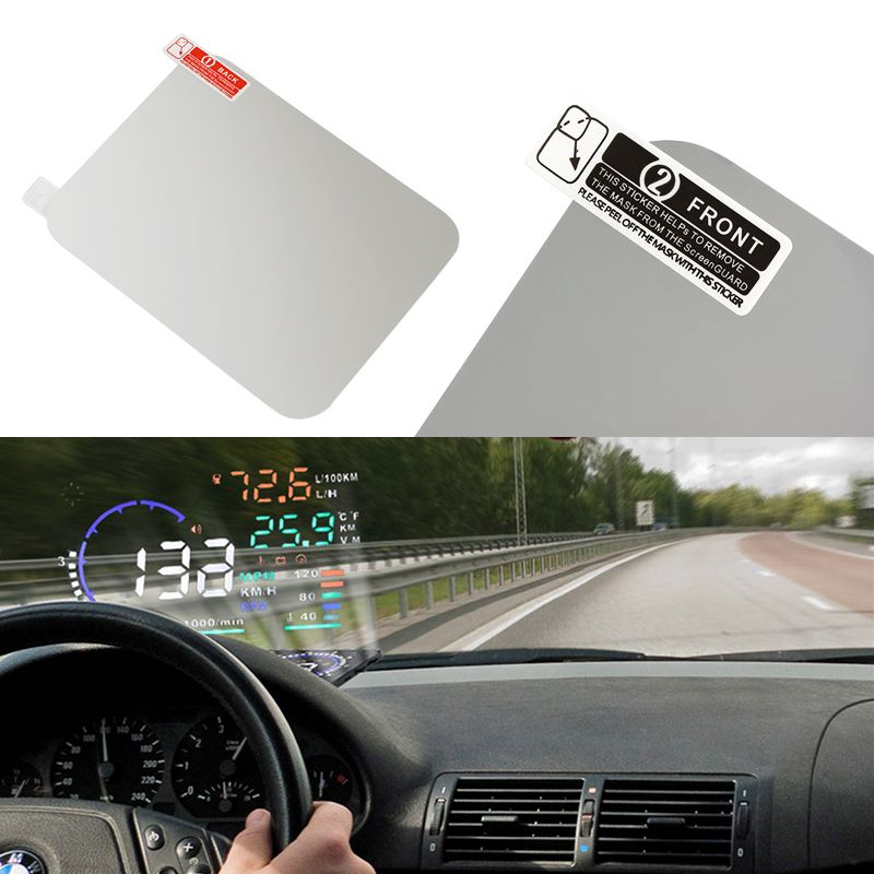 2Pcs Car HUD Reflective Film Vehicle-mounted Head Up Display System Film OBD II Fuel Consumption Overspeed Display Car Styling