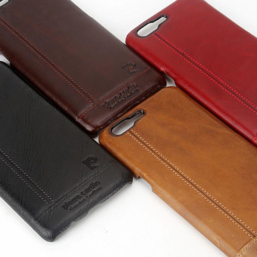 Pierre Cardin étui de téléphone portable ultra-mince de luxe en cuir véritable pour un Plus 5 étui Oneplus 5 étui couverture arrière rigide livraison gratuite