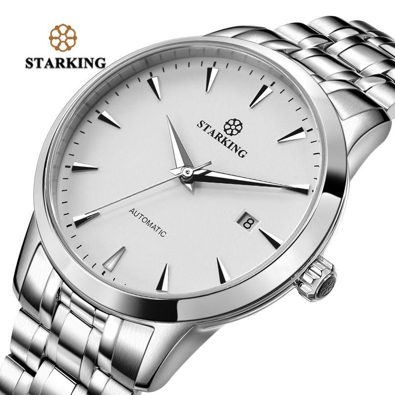 STARKING Mens Horloge Automatique Sapphire Montre Tous Acier Inoxydable Simple D'affaires Mâle Montre xfcs Marque De Luxe Robe Montre-Bracelet