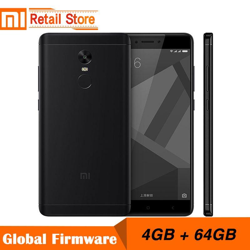 Original Xiaomi Redmi Note 4X 4GB 64GB 5.5 Inch Display Mobile Phone 4G MTK Helio X20 Deca Core 1920x1080 4100mAh Fingerprint ID