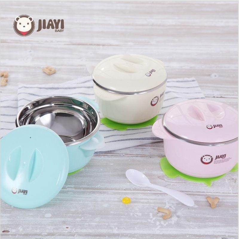 Bébé bol ensemble tasse d'alimentation ventouse sans BPA 304 en acier inoxydable bol avec cuillère couvercle remplissage eau garder au chaud enfants vaisselle