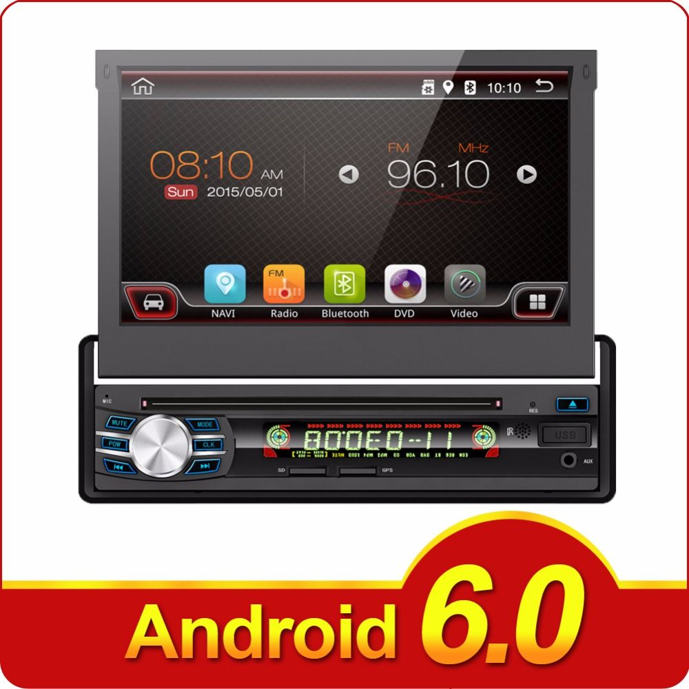 1 DIN Universal Android 6.0 Car DVD player GPS RADIO with Quad core WIFI GPS stereo touch screen Telescopic Machine Auto Screen