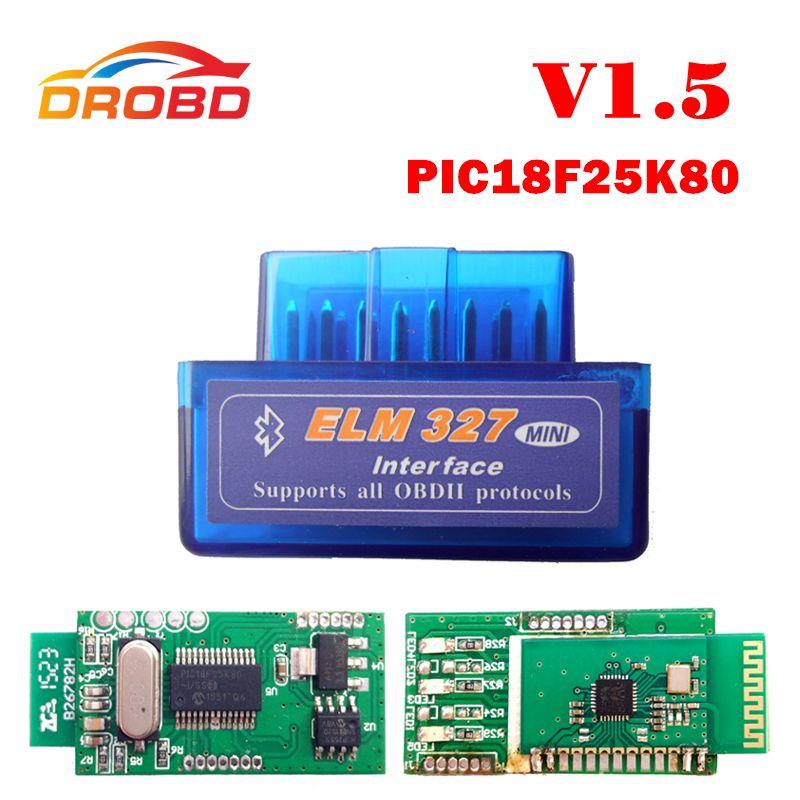 V1.5 Super MINI ELM327 Bluetooth DEL OLMO 327 Versión 1.5 Con PIC18F25K80 Viruta OBD2/OBDII para Android Torque Car Del Código escáner