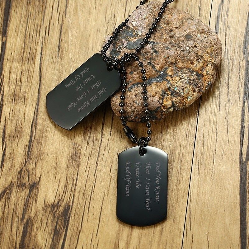 Personalized Black Gold Tone Double Dog Tag Pendant Necklace for Men Women Stainless Steel Male Jewelry with 24