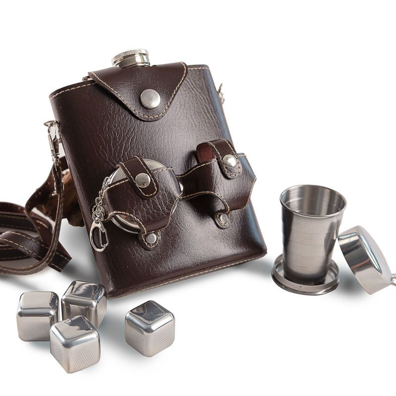 Mealivos portable 18 oz Stainless Steel Hip Flask giftbox Flask for Alcohol Bottle vodka Whiskey bottle groomsmen gifts