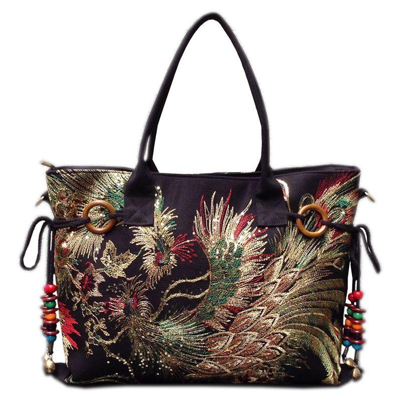2017 new canvas embroidered women bag national characteristics single messenger bag women's fashion <font><b>leisure</b></font> bag crossbody bag