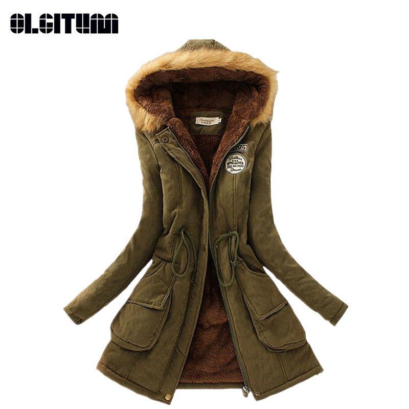 Winter Women Coat 2018 Parka Casual Outwear Military Hooded Coat Woman Clothes Fur Coats female Winter Jacket Women CC001
