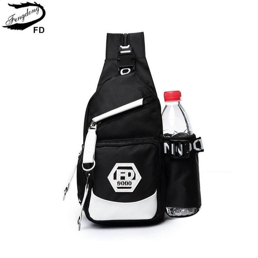 FengDong hommes petit sac à dos à eau mini sacs pour garçons multifonctionnel garçon sac de poitrine noir et blanc sac à dos femmes sac à dos