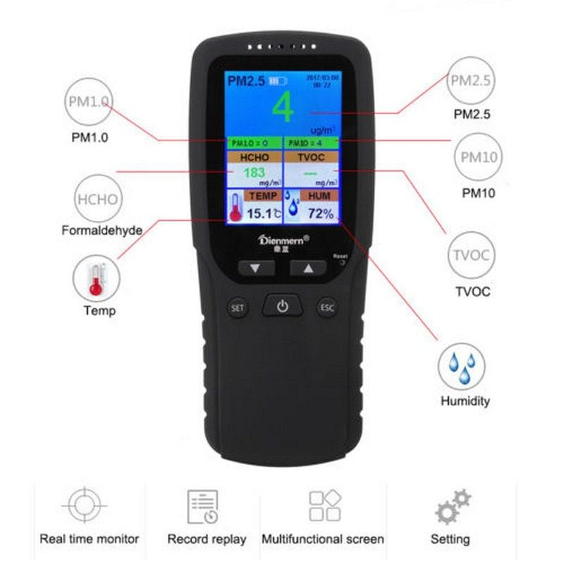 Gas Monitor Formaldehyde HCHO PM1.0 PM2.5 PM10 TVOC Temperature humidity Meter Thermometer Hygrometer Gas Detector Analyzer