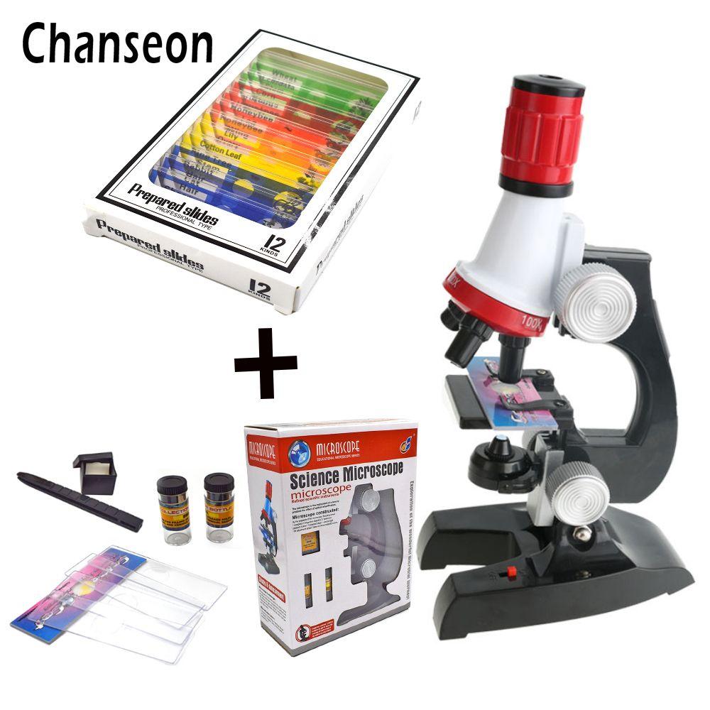 Microscope Lab Kit LED 100X-400X-1200X Home School Science Jouet Éducatif Cadeau Raffiné Biologique Microscope Pour Enfants Enfant