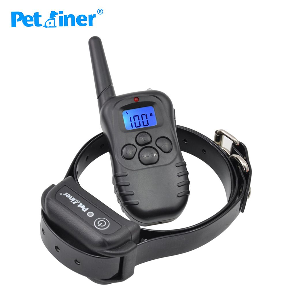 Petrainer 998DB-1BL 300M Rechargeable Waterproof Remote Control Dog Training Collar Dog Electric Shock Collar With LCD Display