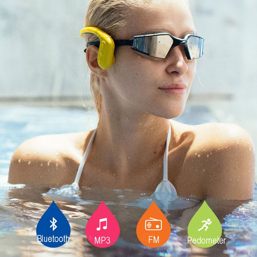 Waterproof MP3 IPX8 Bone conduction 100% Force headphone Underwater with Radio FM bluetooth Pedometer for Swimming sports