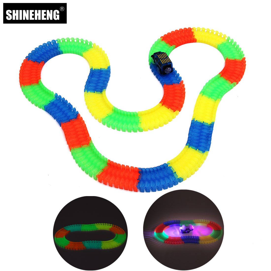 Miracle Glow Racing Track Set Flexible Tracks Toy 80/165/220/240pcs Race Track+1 or 2pcs Led Car with 1pc Squishy for Gift