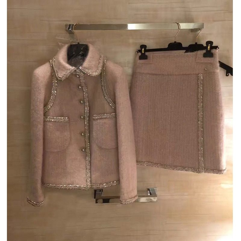 amazing two piece set women winter jacket and skirt set,plus size tweet top and skirt elegant mujer completo 5xl 6xl wool coat