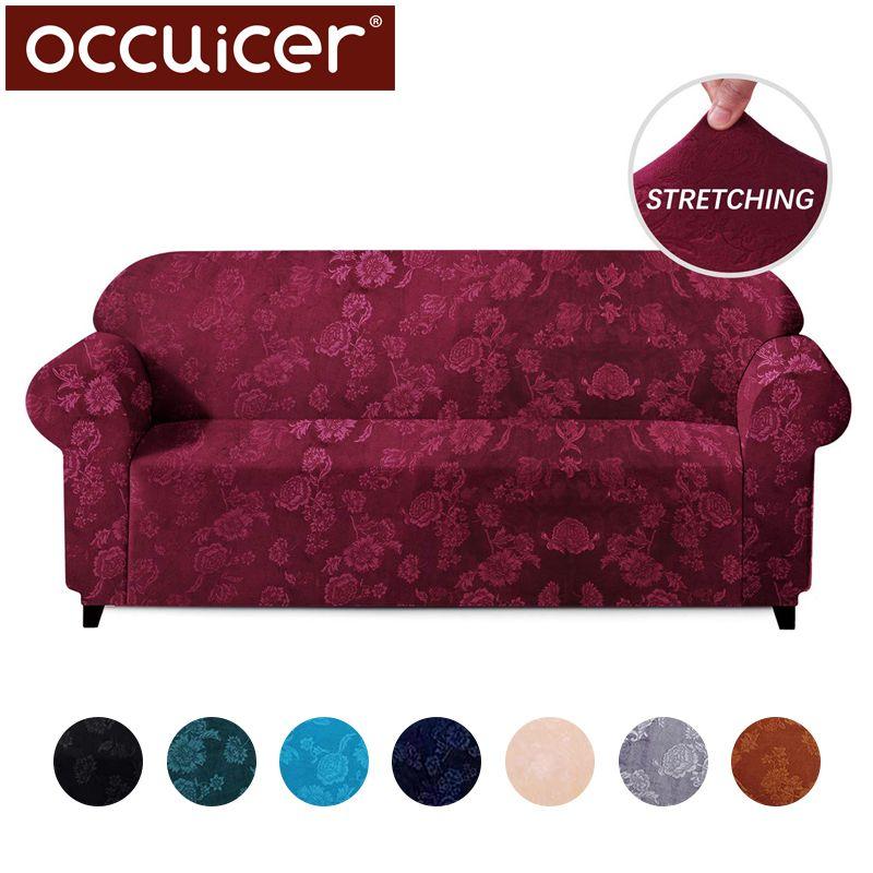 Samt Elastische Stretch Sofa Deckt Schutz Präge Floral Design Universal Sessel Ecke Couch Hussen Schnitts