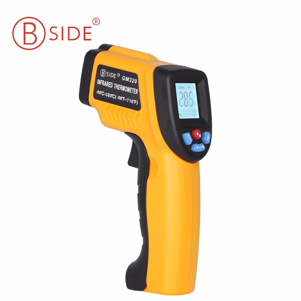 BSIDE GM320 Non-Contact Digital Laser Infrared Thermometer LCD Display with C/F Selection IR Temperature Gun for Industry Home