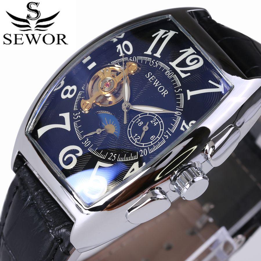 SEWOR Top Marque De Luxe Rectangulaire Tourbillon Hommes Montres Automatique Méchanique montre Mode Vintage Horloge relogio masculino