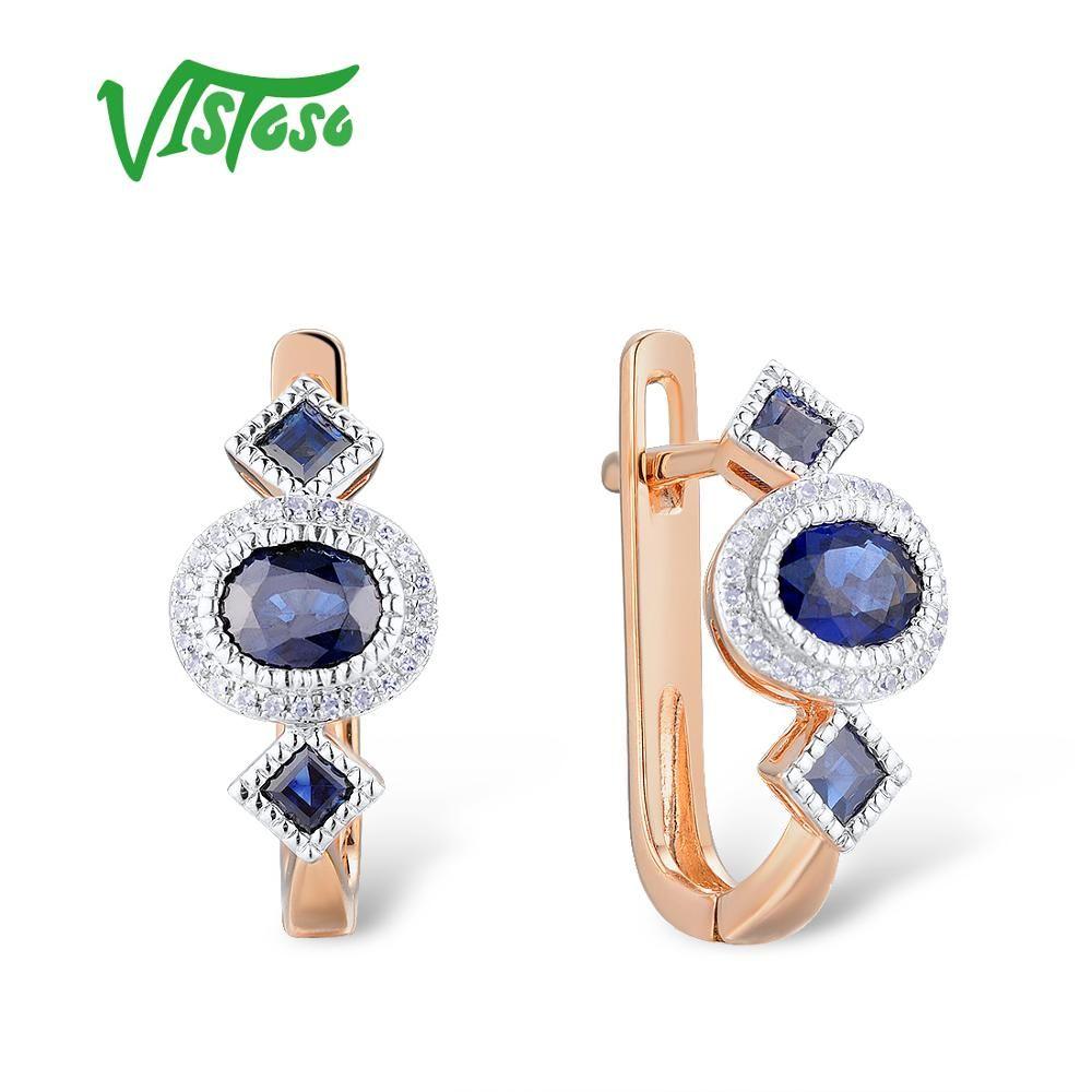 VISTOSO Gold Ohrringe Für Frauen 14K 585 Rose Gold Funkelnde Blaue Sapphire Luxus Diamant Hochzeit Band Engagement Feine Schmuck