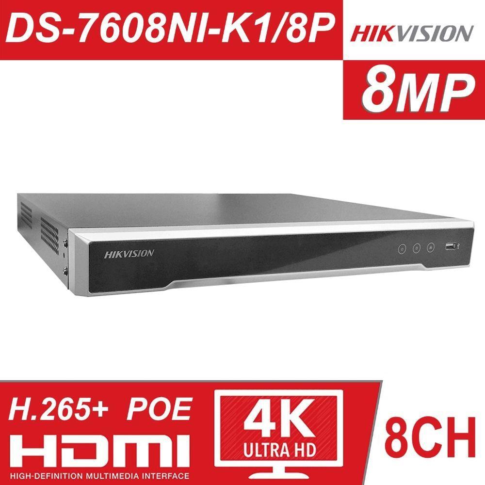 Hikvision 8ch CCTV Recorder PoE NVR DS-7608NI-K1/8 p 8 Kanal Embedded Plug & Play 4 karat Netzwerk Video recorder mit 8 PoE Port H.265