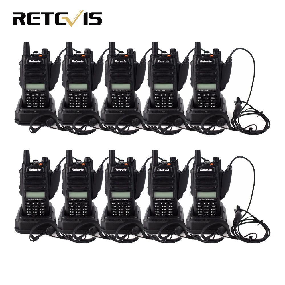 10pcs Walkie Talkie Retevis RT6 IP67 Waterproof 5/3/1W VOX FM Radio Dual Band VHF UHF Hf Transceiver Ham Radio Amador Handy