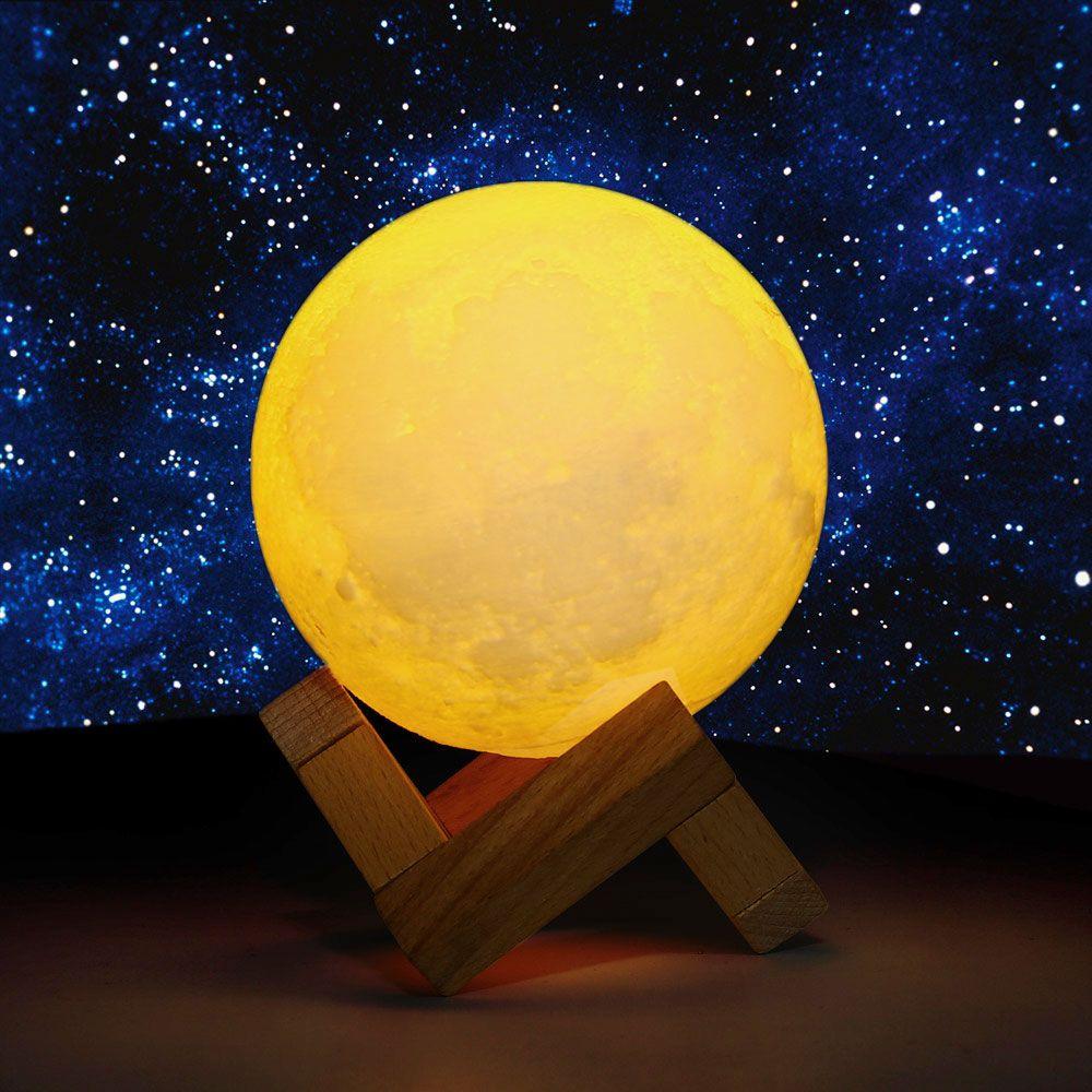 Luz de la noche 3D Print Luna Lámpara USB LLEVÓ la luz de La Luna Sensor Táctil regalo Lámpara de Noche Que Cambia de Color Inicio Decoraton 8-20 cm diámetro