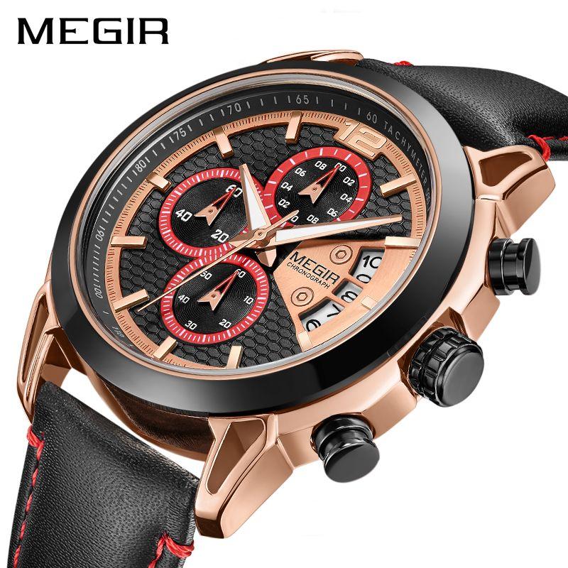 Creative MEGIR Chronograph Men Watch Relogio Masculino Fashion Leather Quartz Wrist Watches Men Clock Hour Army Military Watches