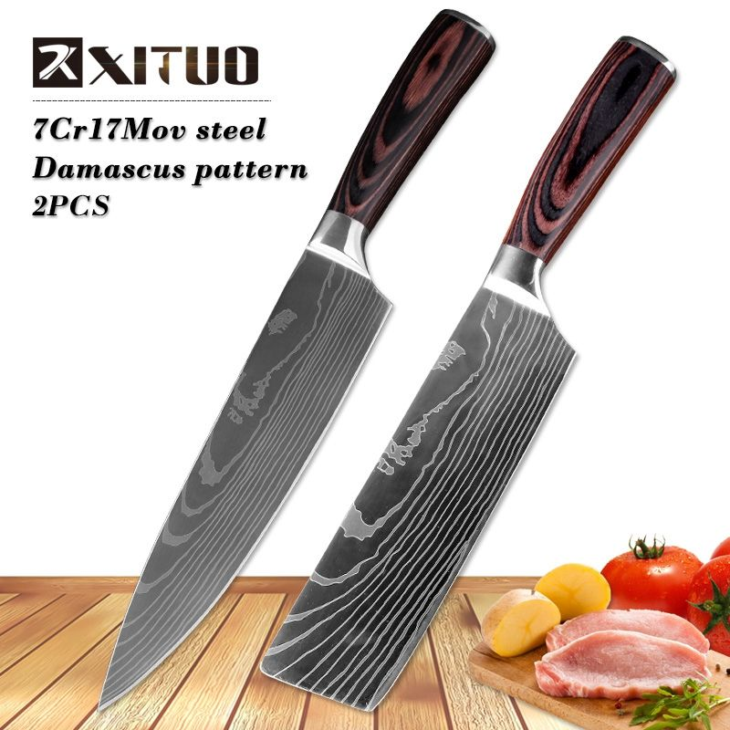 XITUO 8inch <font><b>japanese</b></font> kitchen knives Imitation Damascus pattern chef knife Sharp Santoku Cleaver Slicing Utility Knives tool EDC