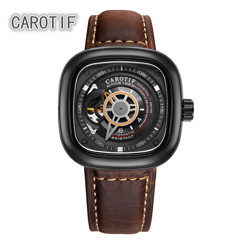 CAROTIF Auto Mechanical Mens Watches Relogio Masculino Top Brand Luxury Leather Business Watch erkek kol saati Montre Homme
